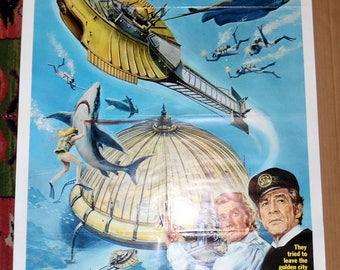 "Antique 1969 Original Movie Poster ""Captain Nemo"" Robert Ryan Chuck Conners Vintage Motion Picture Wall Decor 27"" x 41"" 1 Sheet"