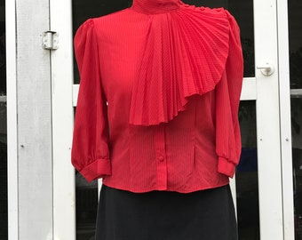 Women's Vintage Clothing High Neck Blouse Red 70s Vintage Secretary Blouse