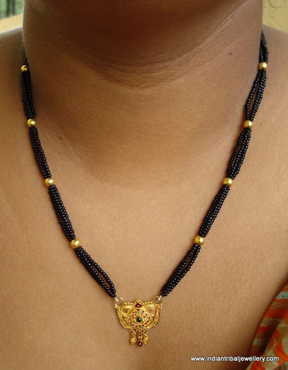 ethnic 20k gold pendant beads necklace choker mangalsutra