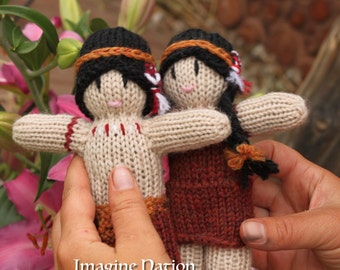 Little Indian Boy and Girl Doll Set Natural Waldorf Educational Toys Ready To Ship