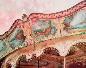 Carousel Photograph Pink bokeh Hearts Print, Dreamy Pink Carnival Nursery Art, Love, Hearts, Carnival 8x8