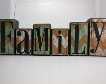 Family Wood Block Set with Rustic Blue and White Chevron Paper Background