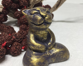 Purple Gold BUDDHA CAT Sculpture Zen Kitty Gift Handmade Healing Violet Metaphysical Spiritual Healing Sacred Goddess Gift Wicca Altar Home