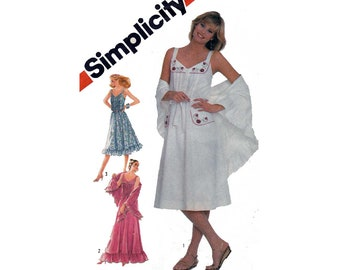 """Women's Sundress and Shawl Sewing Pattern, Misses Size 16 Bust 38"""" UNCUT Vintage 1980's Simplicity 5495"""