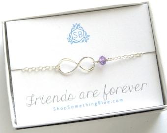 Best Friend gift Infinity Birthstone Bracelet Infinity Eternity Charm Custom Personalized Friendship bracelet Sentiment Card Friends Forever