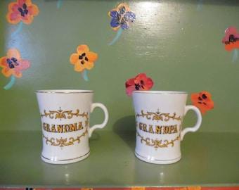 Grandma Grandpa White Gold Mugs Coffee Tea Cups Kitchen Home Decor Mid Century Modern Retro Vintage
