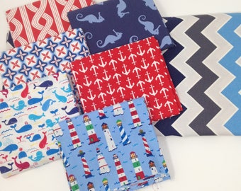 Red, White and Blue Nautical Fabric Bundle #13