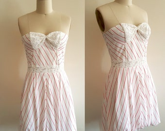 Amy Winehouse dress/ Back to black dress/ Bustier dress/ Red white stripe dress/ Retro dress/ 60s dress/ Summer dress/ Custom made dress