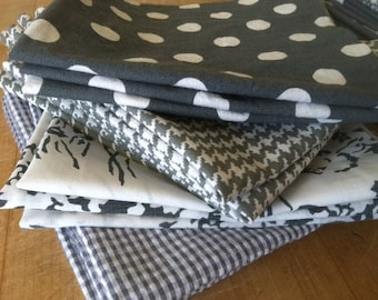 Lunchbox Napkins, Set of 12, Shades of GREY, by CHOW with ME - Free Shipping