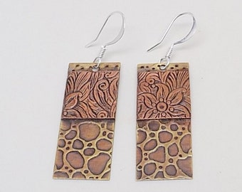 Mixed metal jewelry brass copper earrings. Steampunk jewelry earrings.