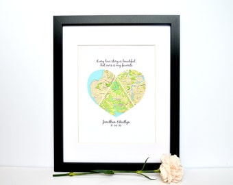Wedding Gift for Long Distance Couple- Unique Wedding Gift, Gift for Bride, Gift for Groom, Destination Wedding, Bridal Shower Gift, Map