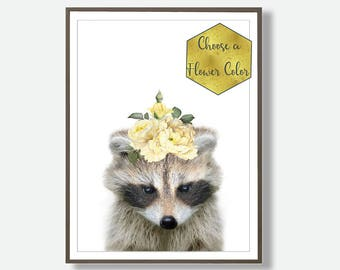 Raccoon Print, Baby Animals Art, Animal Print, Digital Nursery Animals, Digital Download Nursery, Nursery Decor Art, Printable Animal Art,