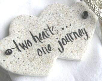 Double Heart Wedding Favor Napkin Rings Salt dough Ornaments / Set of 10