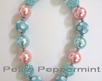 Pink and Turquoise Chunky Necklace, Baby Necklace, Toddler Chunky Bead Necklace, Girl Necklace, Girl Jewelry, Children Necklace
