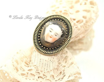 Doll Face Ring Doll Head Ring China Head Doll Antique Bronze Color Lorelie Kay Designs Doll Jewelry