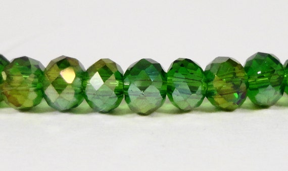 Rondelle Crystal Beads 4x3mm (3x4mm) Green AB Small Faceted Chinese Crystal Glass Beads for DIY Jewelry Making 100 Loose Beads per Pack
