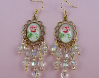 White and Pink Rose Chandelier Earrings with Sparkly Glass Crystal Beads - old fashioned, vintage style, granny cottage chic, Sweet Lolita