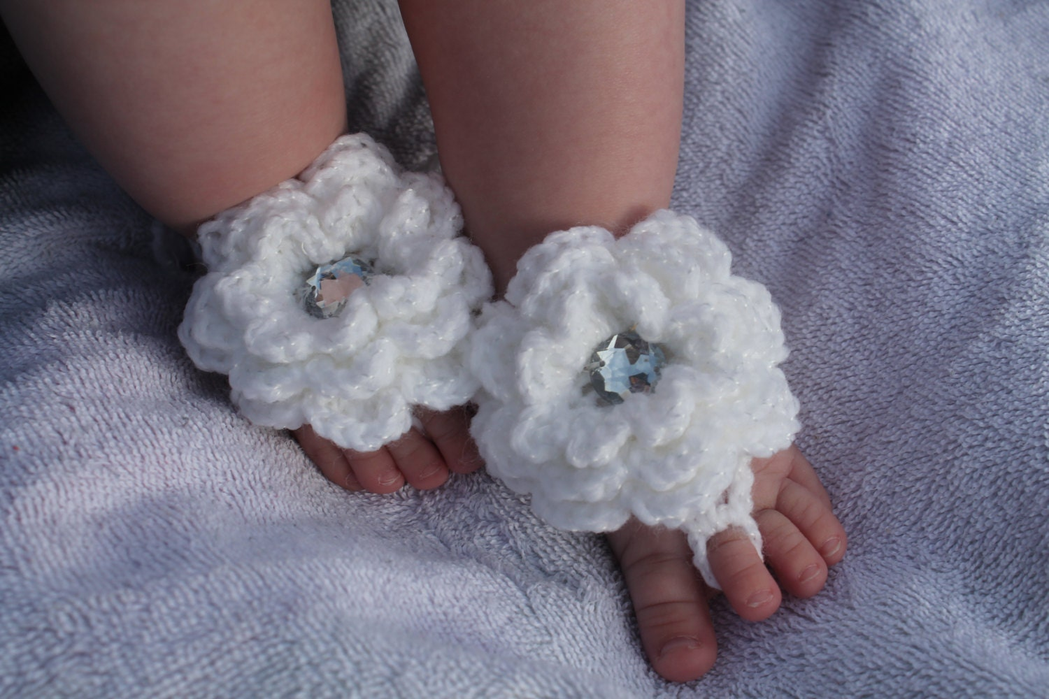 Crochet Baby Barefoot Sandals With Flowers Sparkly White