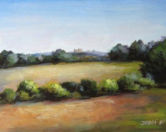 Landscape painting, original acrylic painting, rural painting, small painting