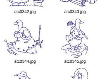Bluework-Gardening-Geese ( 10 Machine Embroidery Designs from ATW ). XYZ17D