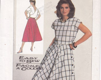 FREE US SHIP Vintage Retro 1980s 80s Sewing Pattern Simplicity 7485 Cross Back Middy Top Side Button flared SkirtSize 6 8 Bust 30.5 31.5 ff