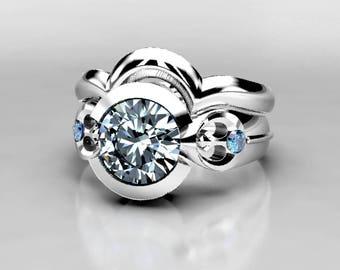 Star Wars Rebel Alliance Wedding Ring Set, White Gold, Palladium, or Platinum, Forever One 1 Carat Moissanite and Blue Diamond Ring, Size 9