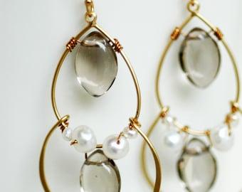 Smoky Quartz Freshwater Pearls Gold Fill Wire Wrap Earrings