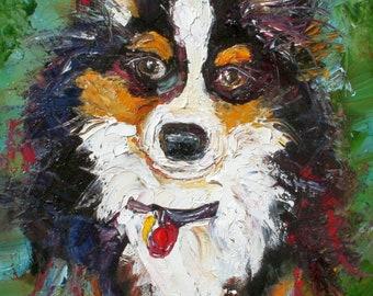 Pet portrait Custom Karen Tarlton Original Oil Painting Commission - palette knife impasto fine art