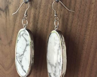 White Magnesite & Silver Earrings