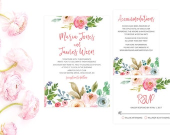 Summer Wedding Invitation Suite, Floral Wedding Invitation Set, Watercolor Wedding Invitation Template, Wedding Invitation Printable WTRTB