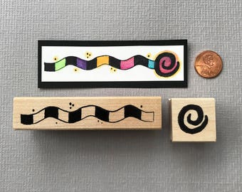 Wavy Line and Swirl Border Rubber Stamp Set