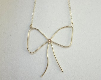 Gold Bow Necklace , 14K gold plated necklace , Gift for her.