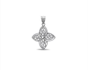 sterling silver filigree 4 leaf pendant. leaf pendant.