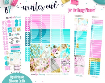 Winter Owl | Weekly Printable Planner Kit | Planner Stickers | Cut Line Files | for use with Happy Planner | Planner Stickers Printables