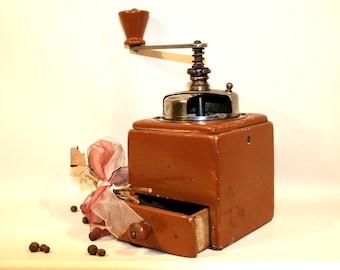 BIG COFFEE GRINDER, Antique Coffee Grinder, Wood coffee mill, Vintage Grinder, Vintage Coffee Mill, Coffee Grinder, Manual Grinder