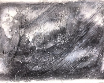 Black White Painting- Moons and Trees- Original Mixed Media- Woodland- 10x15.25- Abstract