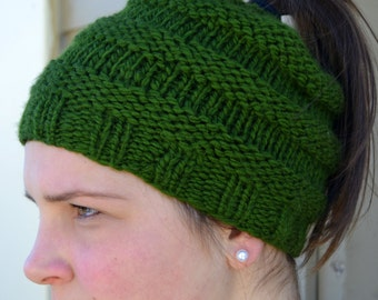 Knit Chunky Ponytail Messy Bun Beanie Hat Hand Knit in FOREST GREEN, oversized soft ribbed banded warm trendy (2061)
