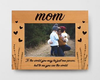 "Personalized Alder Wood picture Frame Engraved, Mother Day Gift, Custom Frame, Mothers Love, Engraved Photo Frame (4x6 , 5x7, 8x10"" inches)"