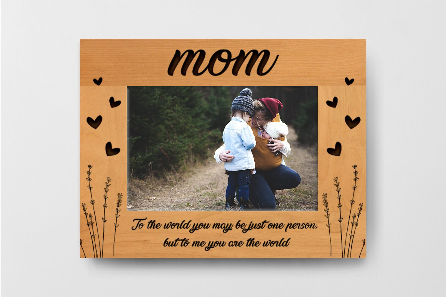 Personalized Alder Wood picture Frame Engraved, Mother Day Gift ...