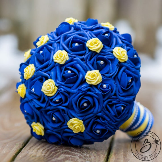 Royal Blue Wedding Bouquet Blue And Yellow Bridal Bouquet