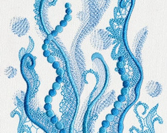 Aquarius Seaweed Embroidered Flour Sack Hand/Dish Towel