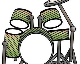Drums Stamp, Drum Set Stamp, Music Stamp, Drums, Imaginisce, Rubber Acrylic Stamp, Stamping