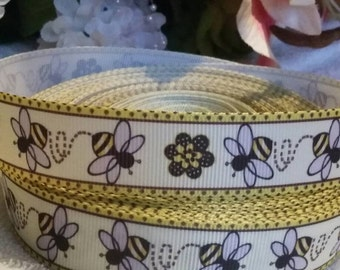 3 yards, 1' bumble bee and flowers design grosgrain ribbon