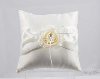 Rose Ring Bearer Pillow,  Flower Girl Basket, Set, Rhinestones, cream white ivory pink purple red Real Touch flowers