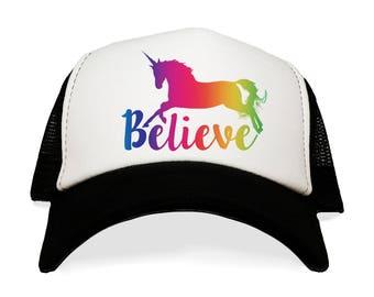 I Believe in Unicorns Hat. Funny Trucker Hat. Rainbow Baseball Cap. Magical. Fantasy. Pegasus. Unicorn. Girl Gift. Birthday Present for Her.