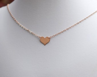 Heart Choker in Your Choice of Rose Gold, 14k Gold or Sterling Silver, N020