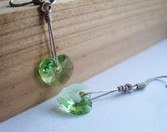 Green Earrings, Peridot Swarovski Crystal Earrings, Green Swarovksi Heart, Girlfriend Gift