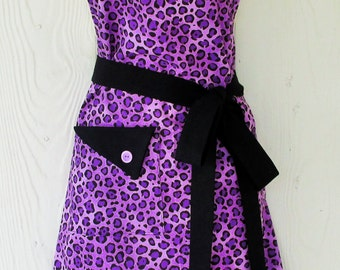 Leopard Print Apron, Purple and Black Apron, Animal Print, Full Apron, Retro Apron, KitschNStyle