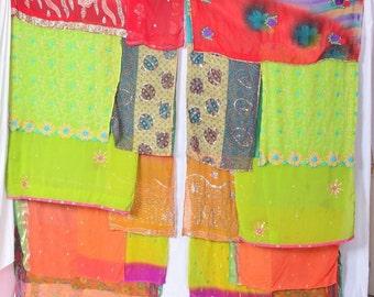 Boho Gypsy Sari Curtains Boho Decor Upcycled Bohemian Gypsy Curtains saree sarees multi color C65