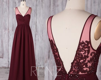 Bridesmaid Dress Wine Chiffon Dress,Wedding Dress,Ruched Sweetheart Prom Dress,Illusion V Neck Maxi Dress,Open Back A-line Party Dress(H689)